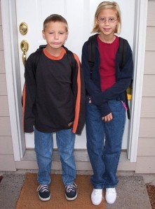First Day of School for Josh and Molly Young -- circa 2001